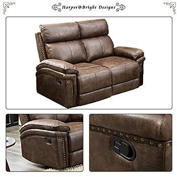 Harper & Bright Designs Living-Room Sectional Recliner Sofa Set (Brown) (Loveseat)