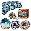 Break Open Real Geodes -Set of 6 with Safety Goggles! Crack them open and Find Crystal Treasure!