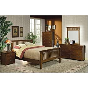 5 PCS Mission Style Dark Brown Finish Queen Size Bedroom Set