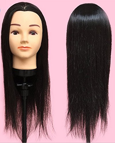 Black Hair Model LuckyFine Female Dummy Head Temperature Wire Head Doll Haircut Hairdressing Trainee Primary Practice Headband Makeup Bracket Practice Head Mold (Fake Head With Hair compare prices)