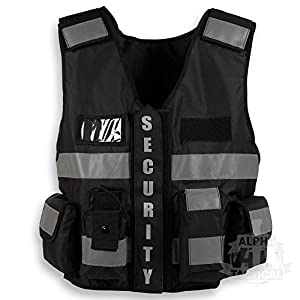 black tactical security vest by Alpha Tactical