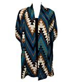 Colorful Aztec Print Long Cardigan Sweater Wrap - Teal & White