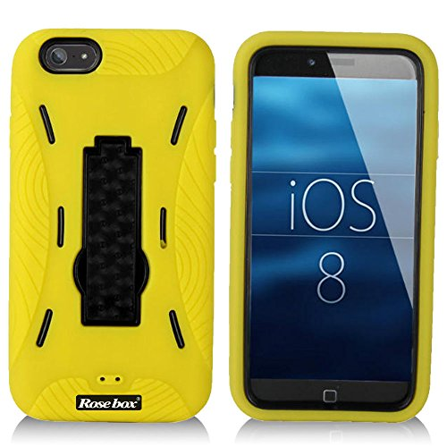 RoseBox® iPhone 6 Plus Case Apple iPhone 6 Plus Case 5.5 Case Inch Dual Layer Hybrid Hard Soft Combo Silicone Bracket Robot Protective Bumper Case for Apple Iphone 6 plus(5.5 inch) (Yellow Robot support case)