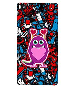 Fuson Heart Pattern Back Case Cover for HUAWEI P8 - D4005