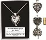 Pet Memorial Urn Locket-Heart Shaped-Silver Tone Filigree