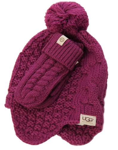 UGG Kids Cable Box Set Mitten & Trapper in Sugarplum by UGG® Australia