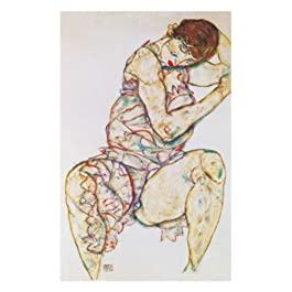 EGON SCHIELE - Seated Woman with left Hand (El panel de madera 60 x 80 cm)