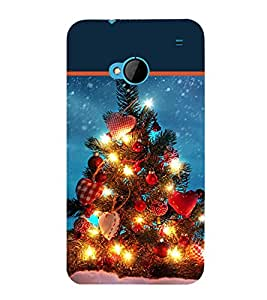 printtech Christmas Tree Hearts Back Case Cover for HTC One M7::HTC M7