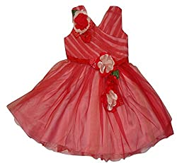 Titrit Red Party Wear Frock For Girls
