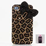 3D Australian Luxury Diamond Leopard with Black Bow Crystal Bling Case Cover for iphone 4 / 4s 100% Handcrafted by BlingAngels + Branded Pink Carry Pouch