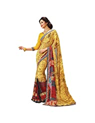 AG Lifestyle Yellow Faux Georgette Saree With Unstitched Blouse AKS2039