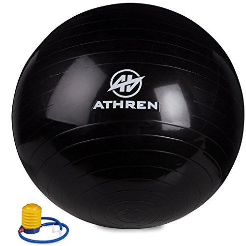 Exercise Ball with Foot Pump (GYM QUALITY FITNESS BALL) - 2000lbs Anti-burst - Also Known as: Fitness Ball - Yoga Ball - Swiss Ball - Multiple Colors and Sizes - (Black, 55cm)