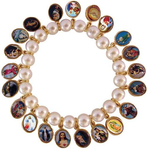 Stretch Glass Pearl With 21 Gold Plated Medals of Jesus, Mary, Saints. Made in Brazil