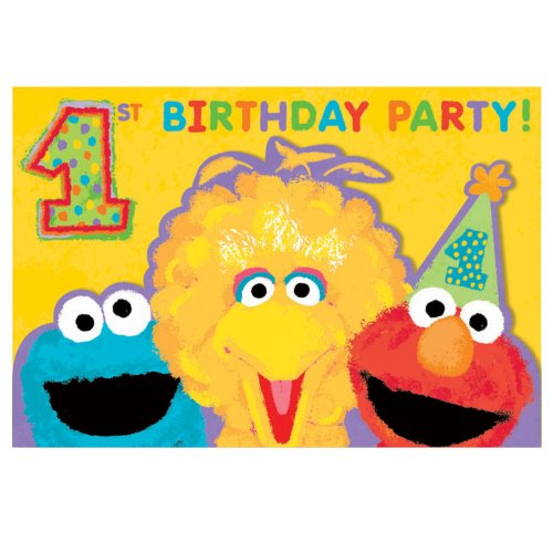 Sesame 1st Birthday Invitations Pack of 20