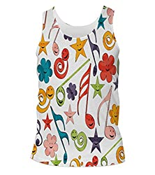 Snoogg Smiley Strings Mens Casual Beach Fitness Vests Tank Tops Sleeveless T shirts
