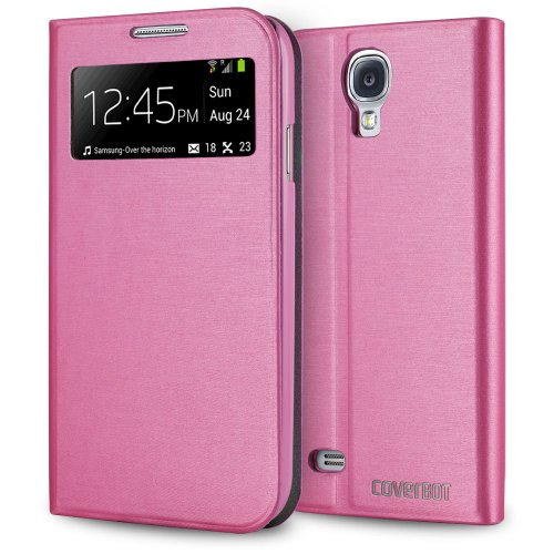 CoverBot Samsung Galaxy S4 S-View Flip Wallet Case with Stand PINK. Slim Style with Folio Flip Cover Support Auto Sleep and Wake Feature for Galaxy S4