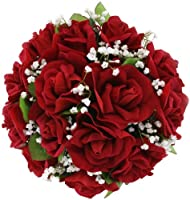 Red Silk Rose Nosegay - Lesbian Wedding Bouquet