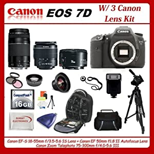 Canon EOS 7D DSLR Camera with 3 Canon Lens Pro Pack: Includes - Canon EF-S 18-55mm f3.5-5.6 IS - Canon Zoom Telephoto EF 75-300mm f/4.0-5.6 III Autofocus Lens - Canon EF 50mm f1.8 II Autofocus Lens, 16GB Package