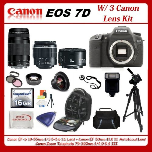Canon EOS 7D DSLR Camera with 3 Canon Lens Pro Pack Includes Canon EF S 18 55mm f3 5 5 6 IS Canon Zoom Telephoto EF 75 300mm f 4 0 5 6 III Autofocus Lens Canon EF 50mm f1 8 II Autofocus Lens Also Includes Deluxe Backpack 0 45x Wide Angle Lens and 2x Teleph