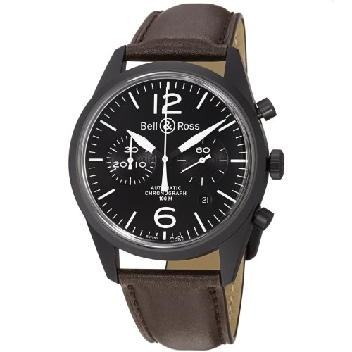 Bell & Ross Men's BR126-ORIGINAL CARBON Vintage Black Dial and Brown Strap Watch