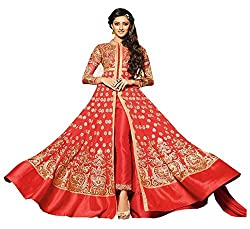 Auspicious Red Embroidered Anarkali Suit