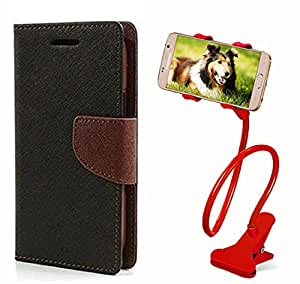 Aart Fancy Diary Card Wallet Flip Case Back Cover For Apple I phone 5 - (Blackbrown) + 360 Rotating Bed Tablet Moblie Phone Holder Universal Car Holder Stand Lazy Bed Desktop for by Aart store.