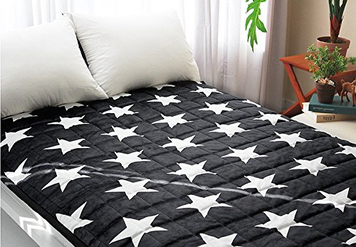 Big Stars Electric Heated Blankets Warm Mattress Pad No Electromagnetic Wave Electric Warming Pads, Home & Garden,Bedroom.Lower Energy Cost. (M:39.5X71Inch (100X180Cm), Black)