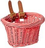 Colorbasket 01525 Kid's Front Handlebar Wicker Bike Basket, Pink