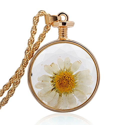 G&T Women Retro Flower Glass Specimen Necklace Jewelry Long Style Sweater Chain