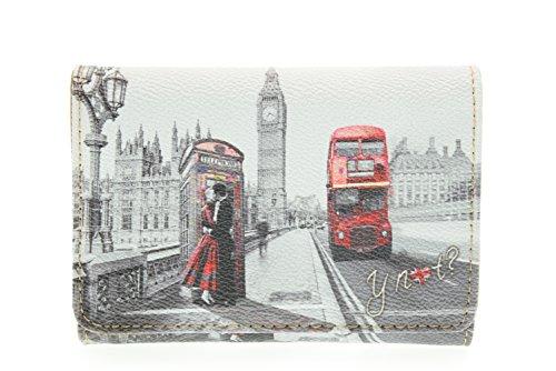 Portafoglio donna Y Not stampa Londra - F346 London Kiss