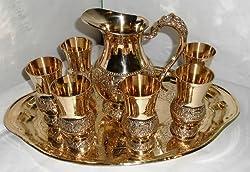 Waqeel Sahab Embrossed Brass Lemon Set pack of 6 Glasses