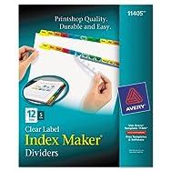 Index Maker Dividers, Multicolor 12-Tab, Letter, 5 Sets/Pack
