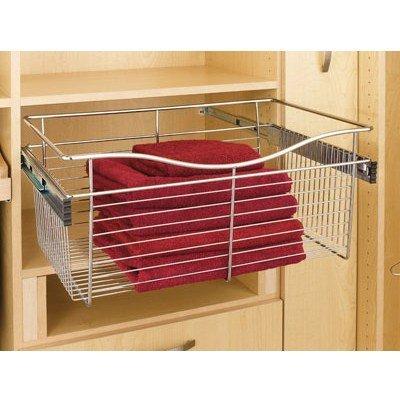 Rev A Shelf Rscb.181611Sn.5 18 In. X 16 In. X 11 In. Wire Pull-Out Closet Baskets - Satin Nickel
