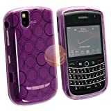 TPU Rubber Skin Case for Blackberry Tour 9630, Clear Purple Concentric Circ ....