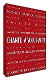 Feel Good modernos y Typographique Red Canvas en el fotograma 91 x 60 cm