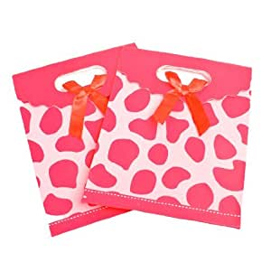 Giraffe Print Gift Bag 6.5-inch x 4.2-inch x 2.4-inch 2PCS Red Pink