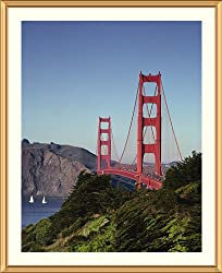 Golden Gate Bridge and Strait - Memorable approx. 25x29-inch Framed &amp; Matted - 1 1/2-inch Antique Style Gold Frame - Photographic Print by Carol M. Highsmith