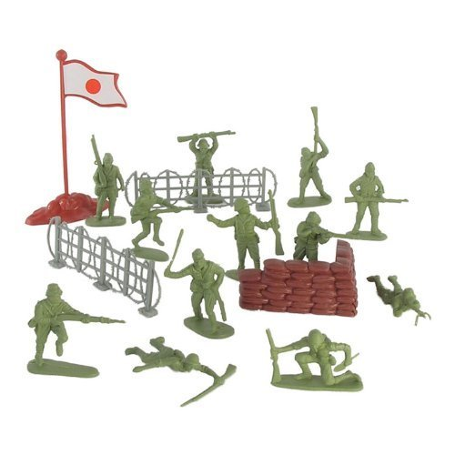 WWII - Japanese Infantry Plastic Army Men: 38 piece set of 54mm Soldier Figures with Accessories - 1:32 Scale