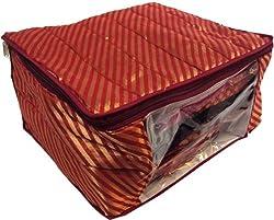 PrettyKrafts Ethnic Sari Cover Large in Jacquard / Banarsi / Brocade - Wardrobe Organizer - Maroon