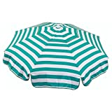 Heininger 1391 DestinationGear Italian Jade Green and White 6' Acrylic Striped Beach Pole Umbrella