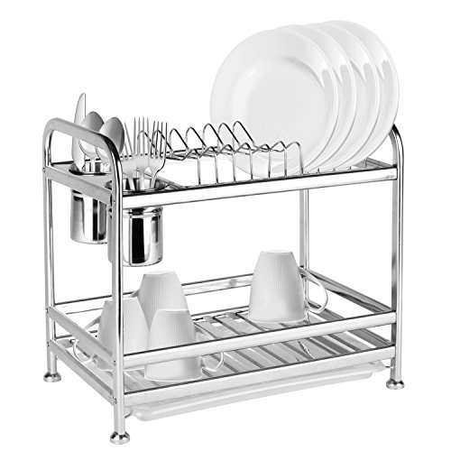 2 Tier Freestanding Stainless Steel Kitchen Dish Air Drying Storage Rack with 2 Utensil Cups - MyGift