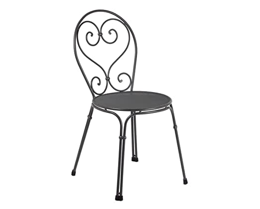 Emu 309092200 Pigalle Stapelstuhl 909, pulverbeschichteter Stahl, antik eisen, 4er Set