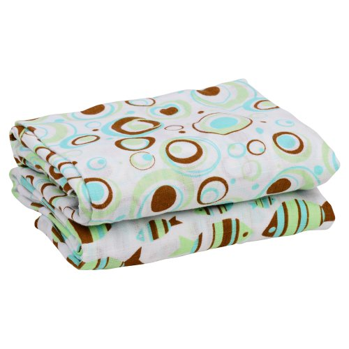 "juDanzy 100% Cotton Muslin Swaddle Blankets Set of 2 Large 45""X45"" Baby Girl or Boy (Under the Sea)"