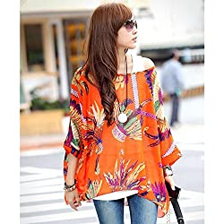 K9D 2014 Bohemian Women T-Shirts Batwing Dolman Sleeve Chiffon Loose Tops Blouse