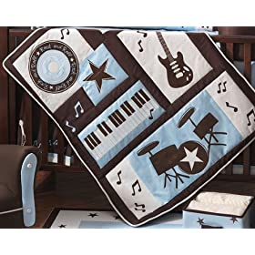 Designer crib bedding review of rock 39 n roll comforter by for Rock n roll baby crib set
