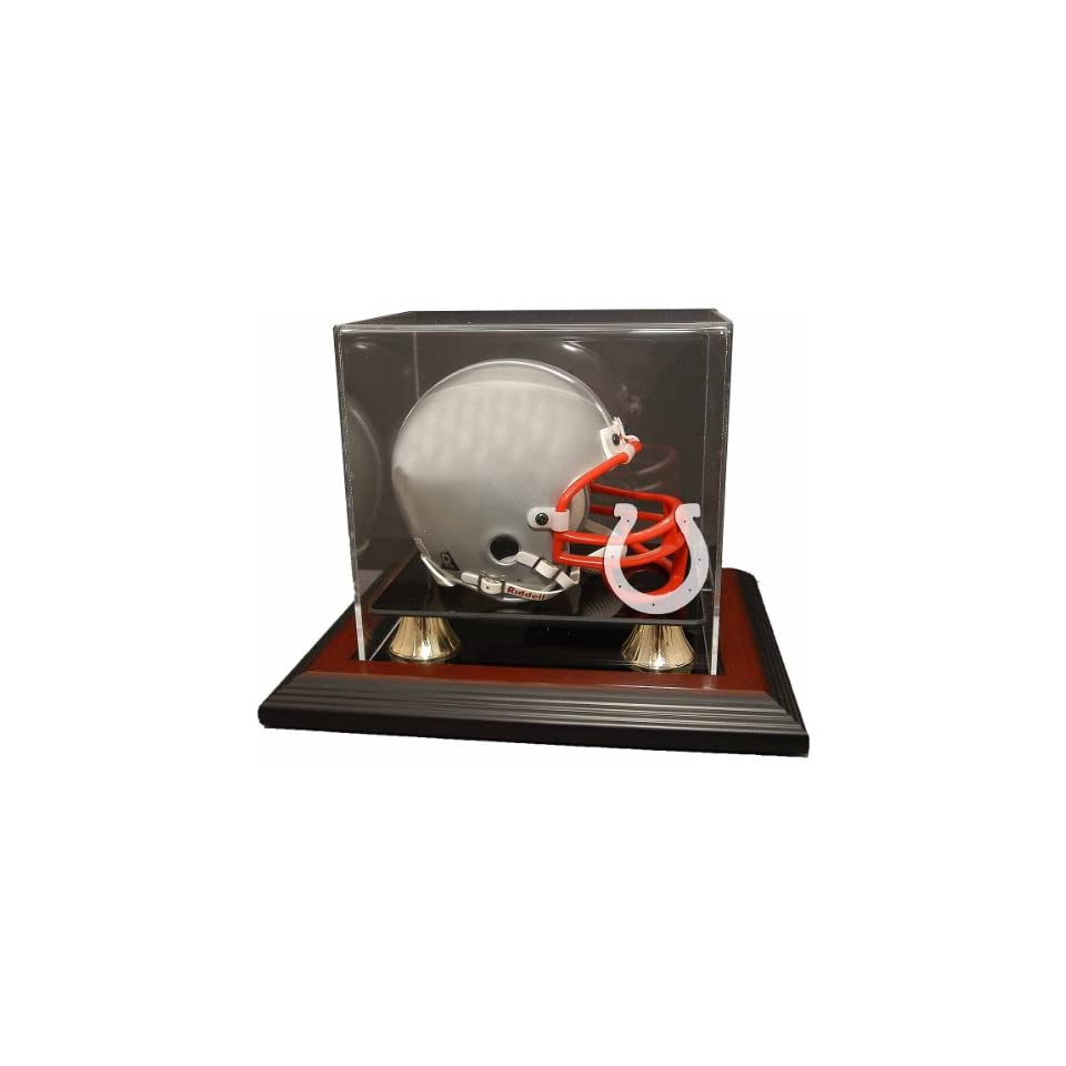 Caseworks Indianapolis Colts Mahogany Zenith Mini Helmet Display Case   Indianapolis Colts Display