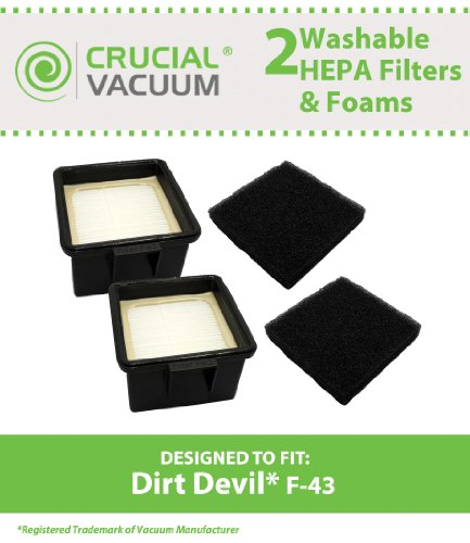 2 Dirt Devil F43 HEPA Filters and Foam Filters, Part # 2PY1105000 (2-PY1105-000) & 1PY1106000, Designed & Engineered by Crucial Vacuum (Dirt Devil Ud20005 Filter compare prices)