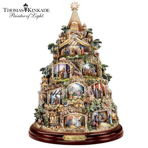 Prelit Art Christmas Trees - The Nativity Tree Tabletop Centerpiece Presented And Narrated By Thomas Kinkade by The Bradford Exchange