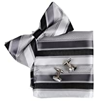 Grey Stripes Silk Pre-tied Bow tie, Cufflinks, Hanky Present Box Set dim grey certificate Pointe BT2088