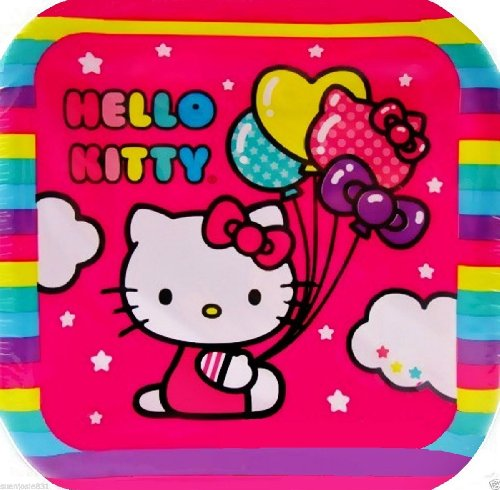 "HELLO KITTY ""BALLOON RAINBOW"" Dessert 7"" Square Party Plates (Pack of 8)"